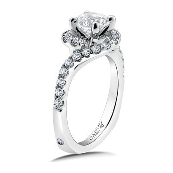 Diamond Engagement Ring Mounting in 14K White Gold with Platinum Head (.49 ct. tw.)