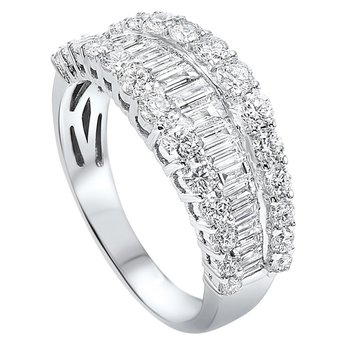 Diamond ¼ Eternity Baguette Tapered Stackable Wedding Band in 14k White Gold (1 ctw)