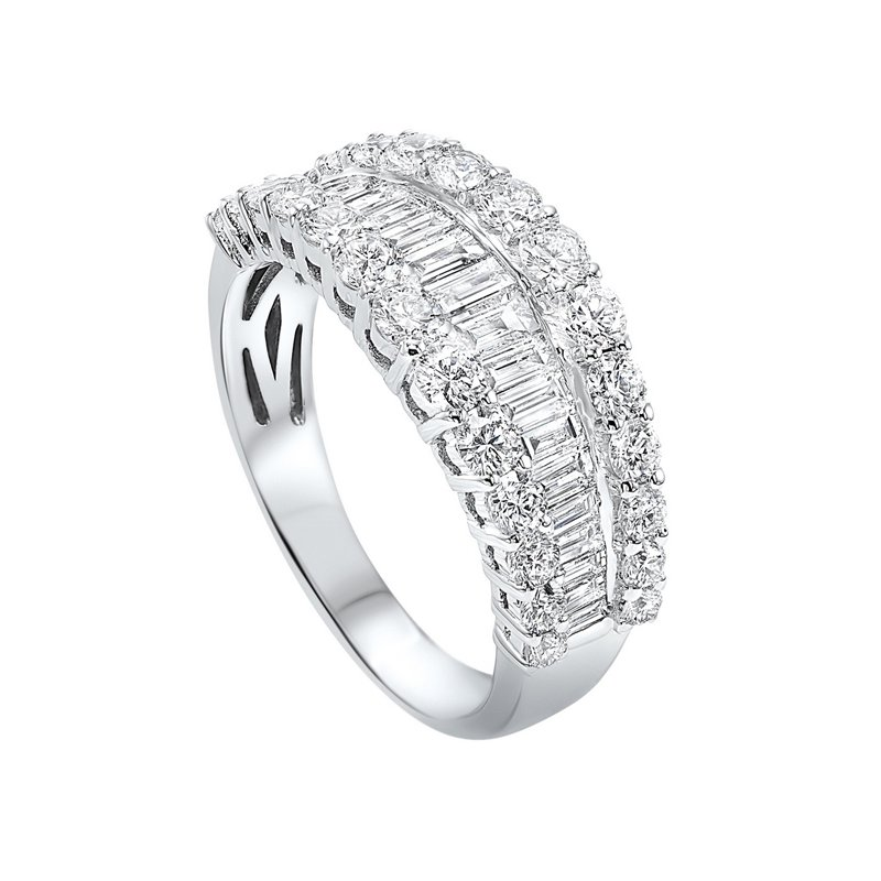 Calvin Broyles Diamond ¼ Eternity Baguette Tapered Stackable Wedding Band in 14k White Gold (1 ctw)