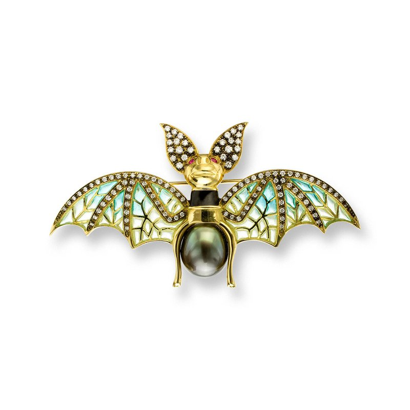 Nicole Barr Designs Blue Bat Brooch.18K -Diamonds Tahitian Pearl and Rubies - Plique-a-Jour
