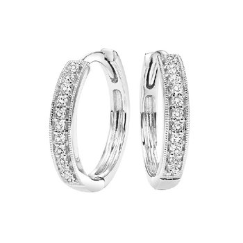 10K White Gold Mixable Micro Prong Diamond Earrings 1/7CT