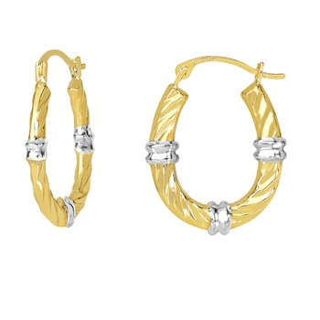 10K Gold Station Hoop Earring