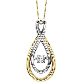 14KY Diamond Rhythm Of Love Pendant 1/10 ctw