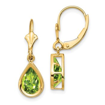 14k 9x6mm Pear Peridot Leverback Earrings