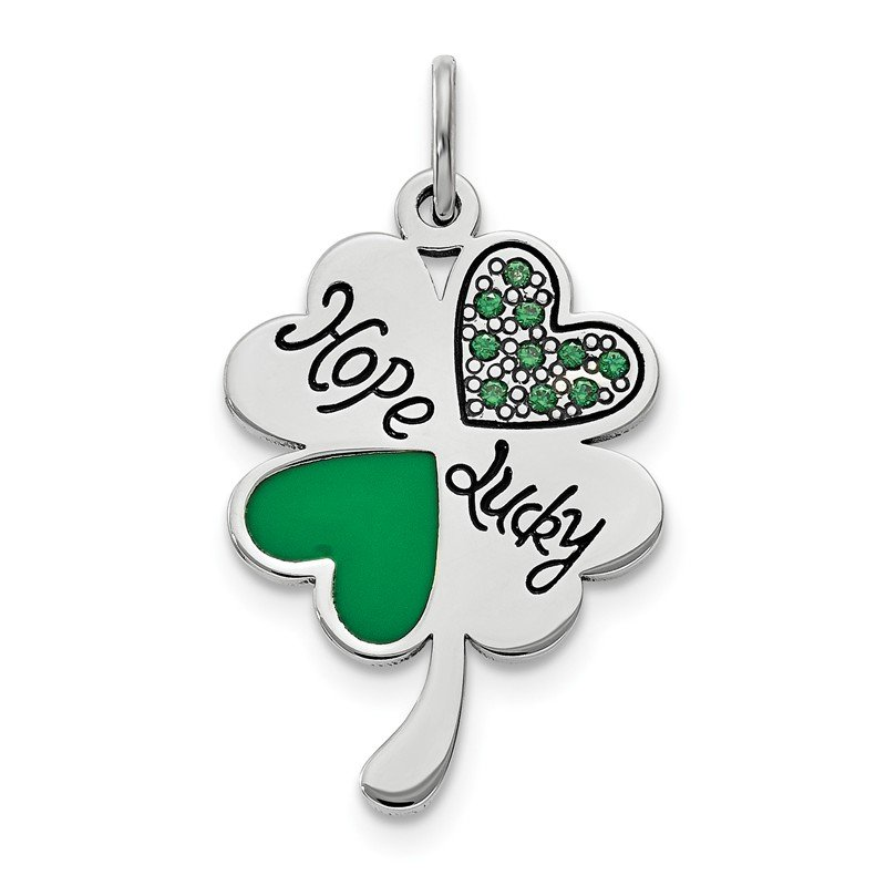 Quality Gold Sterling Silver Polish Enamel Hope Luck Swarovski Zirconia Clover Pendant