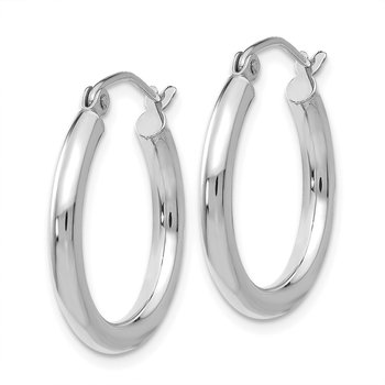 14K White Gold Polished 2.5mm Tube Hoop Earrings