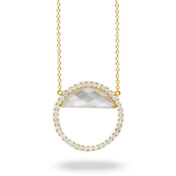 White Orchid Circle Diamond Necklace