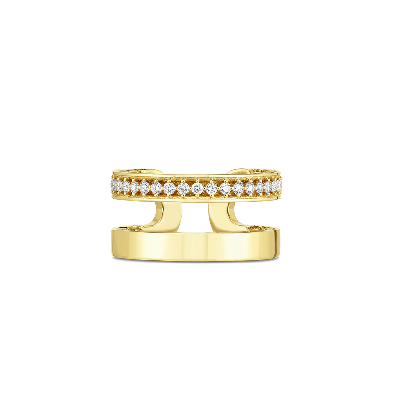 Roberto Coin 18Kt Gold Double Symphony Golden Gate Ring With Diamonds