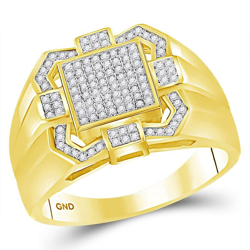 Gold-N-Diamonds, Inc. (Atlanta) 10kt Yellow Gold Mens Round Diamond Square Cluster Ring 3/8 Cttw