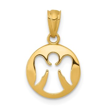 14k Gold Polished Cut-out Angel Pendant