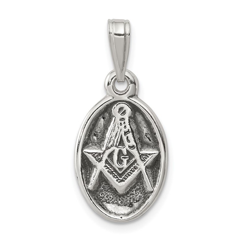 Quality Gold Sterling Silver Antiqued Masonic Charm
