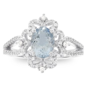 14k White Gold Oval Aquamarine 1/3ct Diamond Engagement Ring