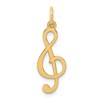 14k Polished Treble Clef Charm