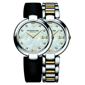 Ladies Quartz Date Interchangeable Bracelet Watch, 32mm Two-tone 8 diamonds