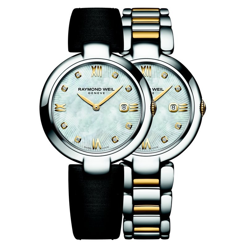 Raymond Weil Ladies Quartz Date Interchangeable Bracelet Watch, 32mm Two-tone 8 diamonds