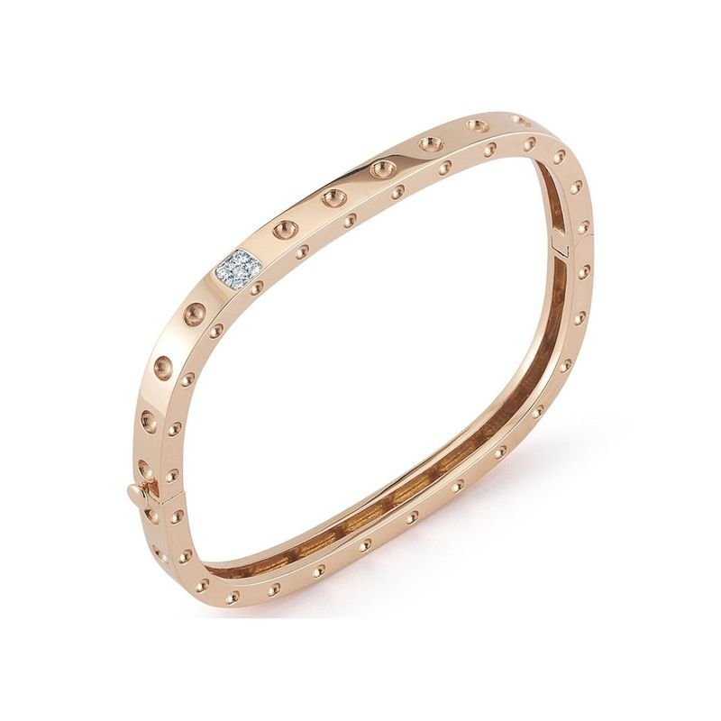 Roberto Coin 1 Row Square Bangle With Diamonds &Ndash; 18K Rose Gold, P