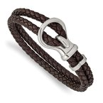 Chisel Stainless Steel Polished Braided Brown Leather 8in Bracelet