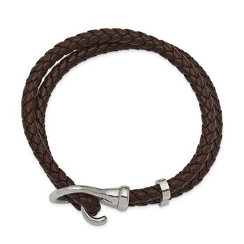 Stainless Steel Polished Braided Brown Leather 8in Bracelet