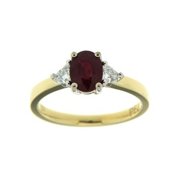 18k Two Tone Gold Ring with Ruby & Diamond