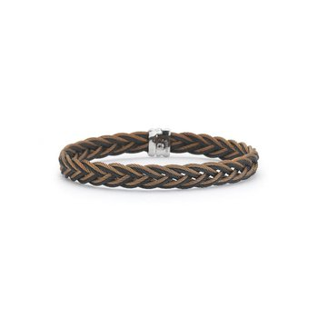 Bronze and Black Braided Cable Bracelet