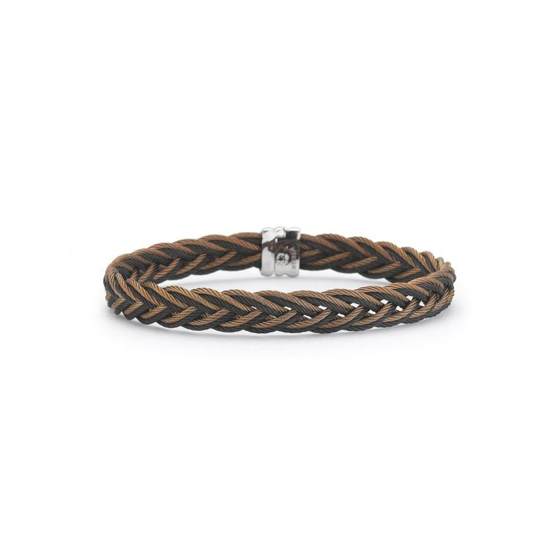 ALOR Bronze and Black Braided Cable Bracelet