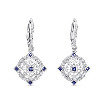 Sterling Sliver vintage style earrings with diamonds (0.12ct) and sapphires (0.24ct)