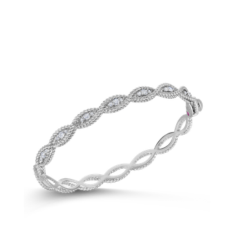 1 Row Bangle With Diamonds &Ndash; 18K White Gold