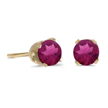 14k Yellow Gold 4 mm Round Rhodolite Garnet Stud Earrings