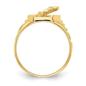 14k Polished Horseshoe with Horse in Center Ring