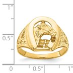 Quality Gold 14k Polished Horseshoe with Horse in Center Ring