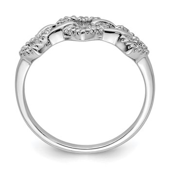 Sterling Silver Rhodium Plated Diamond Triple Heart Ring