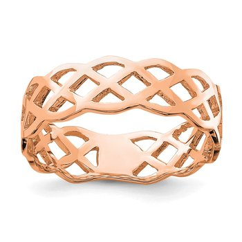 14K Rose Polished Weave Ring