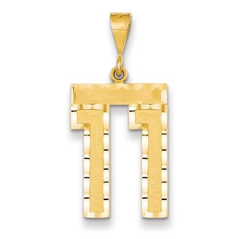 14k Large Diamond-cut Number 11 Charm