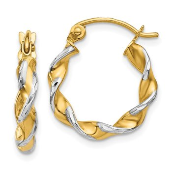 14k Polished 2.75mm Fancy Twisted Hoop Earrings