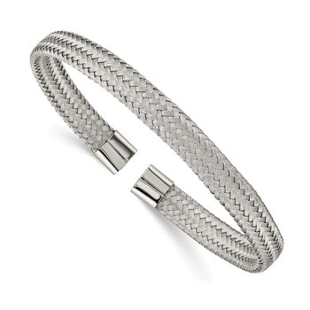 Stainless Steel Polished 6mm Mesh Wire Cuff Bangle