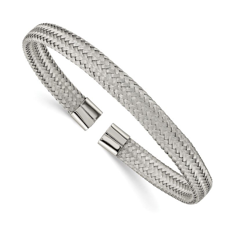 Chisel Stainless Steel Polished 6mm Mesh Wire Cuff Bangle