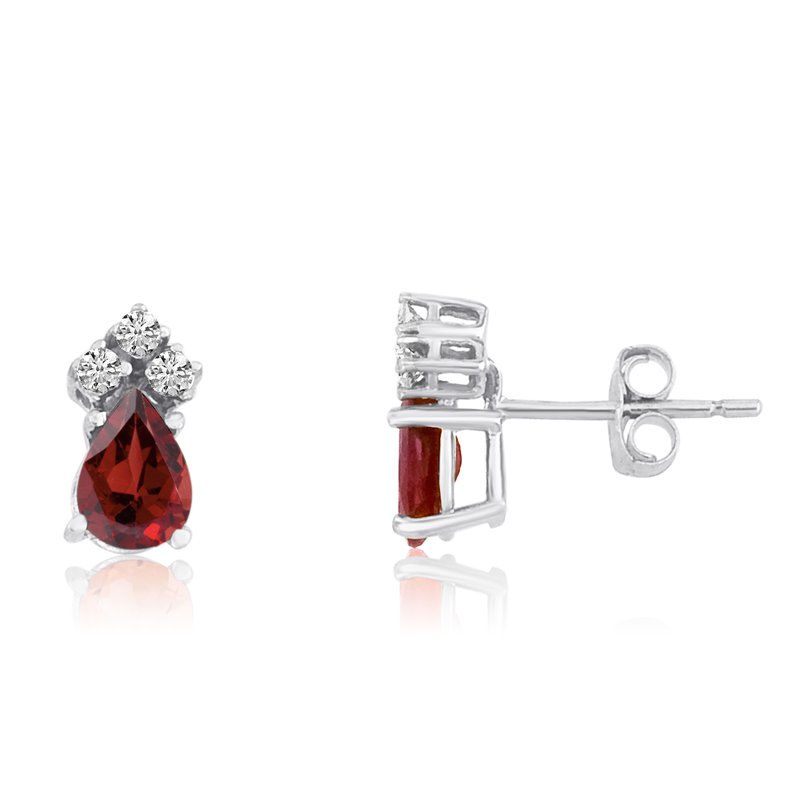Color Merchants 14k White Gold Garnet Pear Earrings with Diamonds