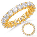 S. Kashi & Sons Bridal Yellow Gold Cushion Cut Eternity Band