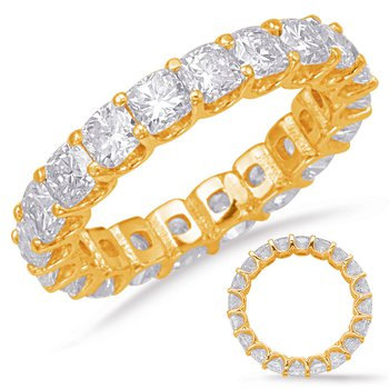 Yellow Gold Cushion Cut Eternity Band