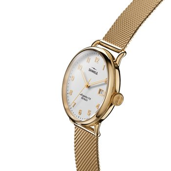 The Canfield 38mm Gold PVD Stainless White Dial Mesh Bracelet Watch
