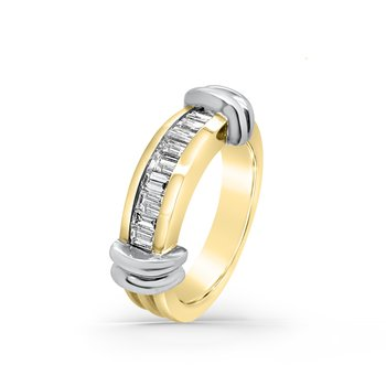 Two-Tone Yellow Gold Diamond Retro Wide Fashion Band