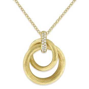 Diamond Double Circle Necklace in 14k Yellow Gold with 38 Diamonds weighing .30ct tw.