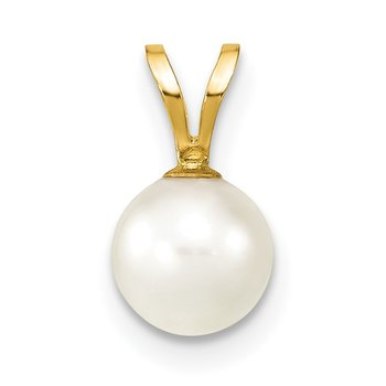 14k Gold 6-7mm White Saltwater Akoya Cultured Pearl Pendant