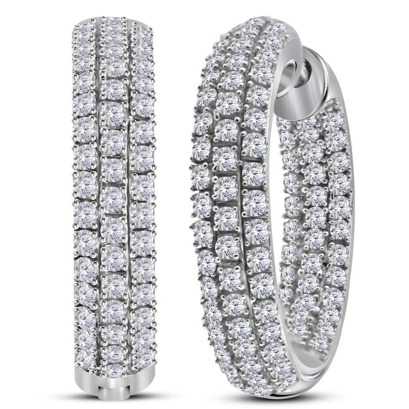 Kingdom Treasures 14kt White Gold Womens Round Diamond Inside Outside Hoop Earrings 2.00 Cttw