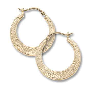 14kt Yel Engraved Hoop Earrings