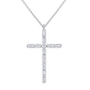 Diamond Mosaic Cross Necklace Set in 14 Kt. Gold