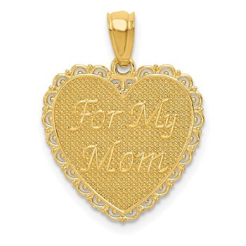 14K Gold Reversible FOR MY MOM/ Thanks For Everything Pendant