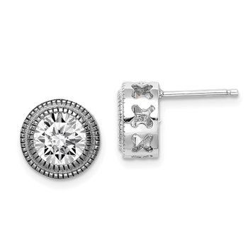 Sterling Silver CZ Round Flower Earrings