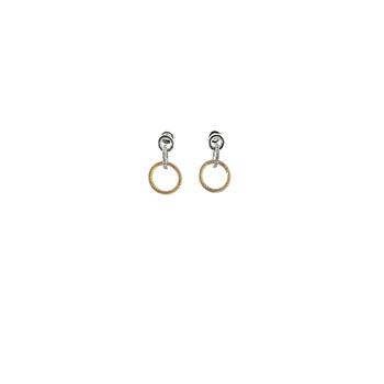 18KT GOLD TRIPLE CIRCLE EARRINGS WITH DIAMONDS