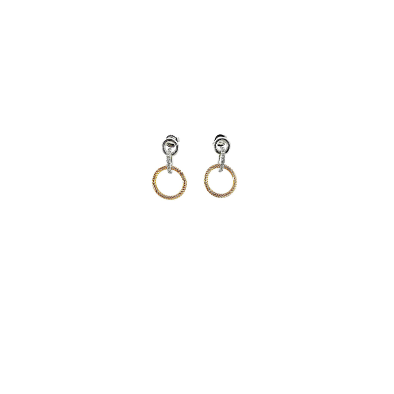 Roberto Coin 18Kt Gold Triple Circle Earrings With Diamonds